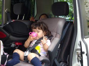 <p>いっぱい遊んで疲れた~<br />あっ! カメラだ! ポーズは決めなきゃ (*^^)v<br />お茶を飲んで、後は車に乗って夢の中かな?</p>