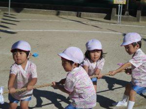 """<p>団体競技 「綱引き」<br />みんなの力を合わせる一番目の競技 """"綱引き""""<br />もも・つぼみさん。 小さくてもパワー全開!!<br />お兄さん・お姉さんに負けていません。</p>"""