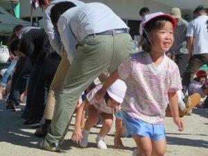 <p>父子競技 「みんなでお引越し」 ②<br />お父さんたちに運んでもらった後は、トンネルくぐり。<br />中腰で歩いたり、ハイハイしたり、早くトンネルを抜け出せるのは、<br />紅組さんかな? 白組さんかな?</p>