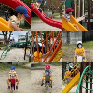 <p>今日は、遊具が変わったという公園の偵察!!<br />「あそべるかな~???」とワクワク(^^♪しながら、、、行ってみました。<br />「わーーーーー( *´艸`)あそべるーーーー」ちいさい遊具でしたが、楽しく遊びました♪</p>